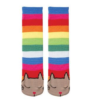 Tubular Novelty Socks-Cat-Multi Stripe