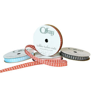 "Offray 3/8""x9' Gingham Check and Plaid Grosgrain Ribbon"