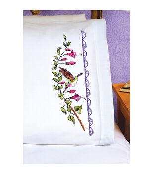 Janlynn Hummingbird Pillowcase Pair Stamped Cross Stitch Kit