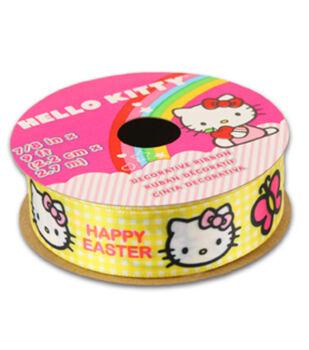 Hello Kitty Easter Ribbon-Yellow Plaid