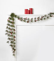 Blooming Holiday Pinecone & Berry Garland-Red, , hi-res