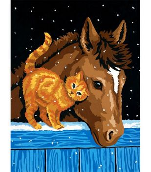 """Learn To Paint 9""""X12""""-Pony And Kitten"""