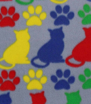 Blizzard Fleece Fabric-Bright Kitty Kat