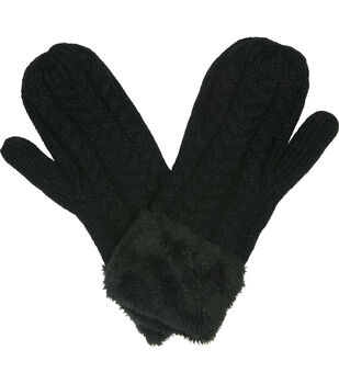 Laliberi Winter Knit Cuffed Mittens In Black