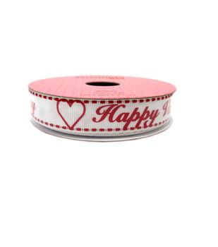 Valentine's Day Ribbon 0.62''x9'-''Happy Valentine's Day'' White