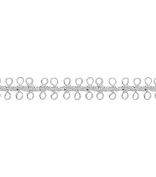 "3/8"" Silver Loop Apparel Trim"
