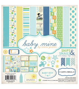 Carta Bella 12X12in - Baby Mine Boy Collection Kit