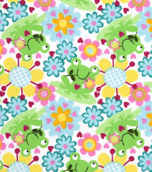 Snuggle Flannel Fabric 42''-Happy Froggie & Floral