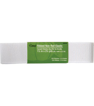 "Dritz Ribbed Non-Roll Elastic White 1.5"" x 2.5 Yds"