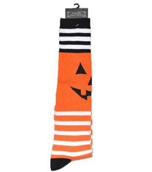 Maker's Halloween Socks-Pumpkin Face Stripe Knee High
