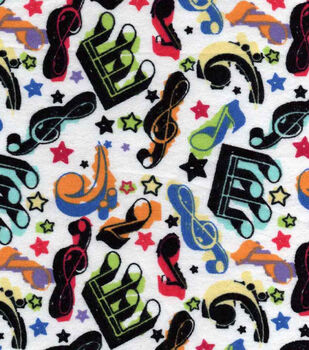 Snuggle Flannel Fabric-Colorful Music
