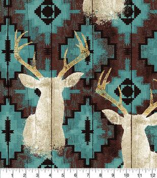 Anti Pill Fleece Fabric 58''-Stag Head On Turquoise Aztec