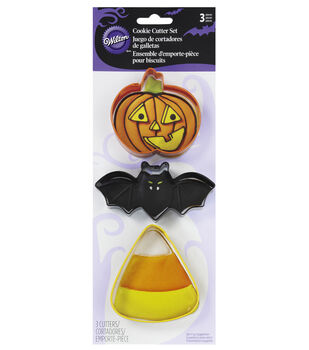 Cookie Cutters 3/Pkg-Bat, Jack-O-Lantern And Candy Corn