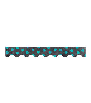 Dots on Chalkboard! Turquoise Border