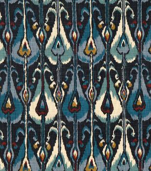 Home Decor Print Fabric- Robert Allen Ikat Bands  Indigo