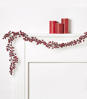 Blooming Holiday Dark Berry Glittered Garland, , hi-res