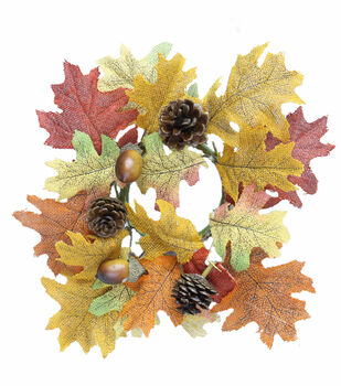 Blooming Autumn Oak Leaf, Acorn  & Pinecone Candle Ring