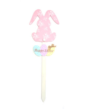 Patterned Easter Bunny Welcome Stake-Pink