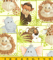 Nursery Fabric- Jungle Babies Patch Grn, , hi-res