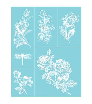 """Martha Stewart Crafts Glass Silkscreen 8.5""""X11"""" English Garden"""