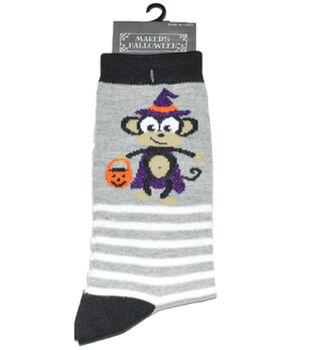 Maker's Halloween Socks-Monkey Stripe Crew