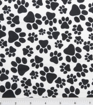Snuggle Flannel Fabric-Paws Black