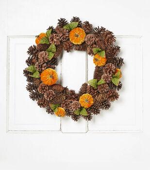 Blooming Autumn 20'' Velvet Pumpkin, Vine & Pinecone Wreath