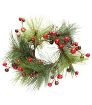 Blooming Holiday 3.25'' Pine With Berries Wreath, , hi-res