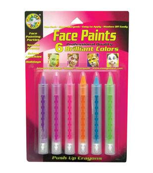 Face Paint Push Up Crayons 6/Pkg-Brilliant