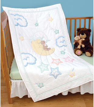 Jack Dempsey Stamped White Quilt Crib Top Bear On The Moon