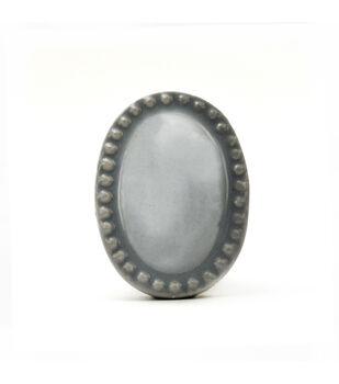 Dritz Home Ceramic Vintage Oval Knob-Dove Grey