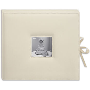 "Sewn Leatherette D-Ring Scrapbook Box 13""X14.5""-Ivory"
