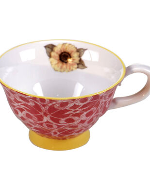 Susan Winget Tea Cup-Pink Pattern With Yellow Flower