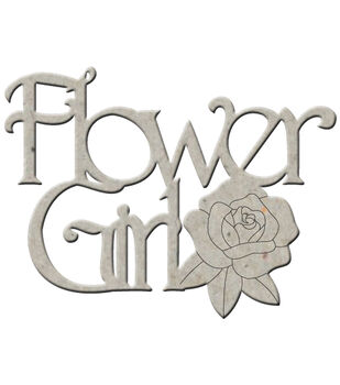 "Die-Cut Grey Chipboard Word-Flower Girl 3.5""X2.5"""