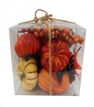 Blooming Autumn Natural Pumpkin, Berries  & Pinecone In Box