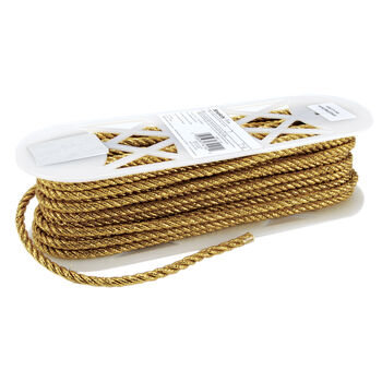 "Large Metallic Twisted Cord 1/4"" Wide 18 Yards-Gold"