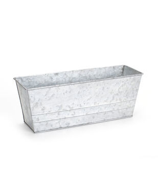 "Galvanized Metal Ledge Planter-13"" Wide"