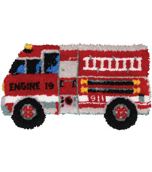 M C G Textiles Latch Hook Kit Fire Truck