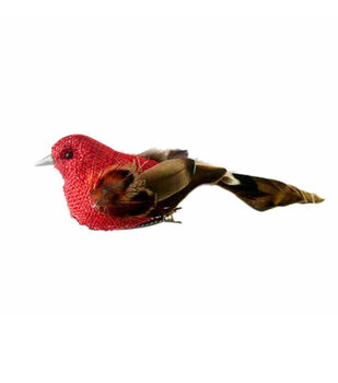 Blooming Autumn Feather Burlap Bird-Red