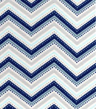 Snuggle Flannel Fabric-Navy Grey Chevron