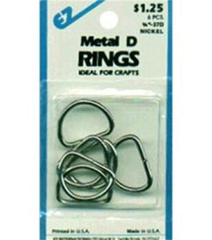 """Metal """"D"""" Rings 3/4"""" 6/Pkg-Nickel"""