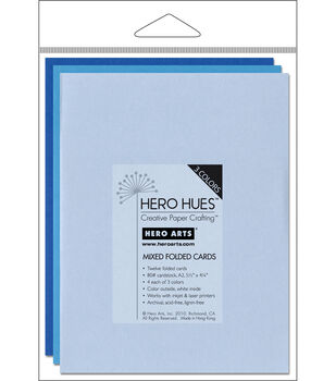 "Hero Arts 5-1/2""x4-1/4"" Folded Cards-12PK/Sea Mix"