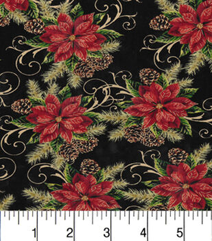 Maker'S Holiday Cotton Fabric-Scrolly Poinsettias & Pines Met