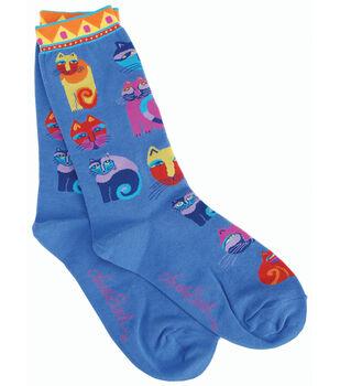 Laurel Burch Socks-Feline Festival-Blue