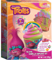 Dreamworks Trolls Tie Dye Vanilla Cupcake Kit, , hi-res