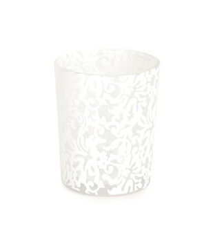 Lace Print Votive, White
