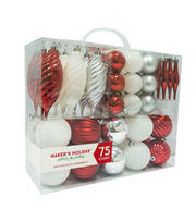 Maker's Holiday 75ct Shatterproof Ornaments-Red, Silver & White, , hi-res
