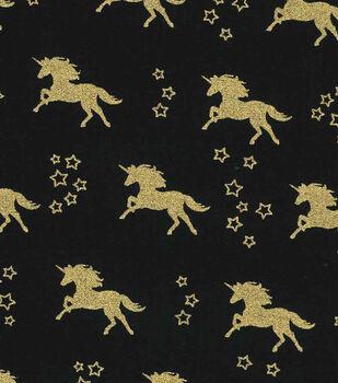 Novelty Cotton Fabric-Unicorn Black Gold Metallic