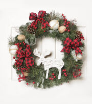 Blooming Holiday 26'' Moose Wreath, , hi-res
