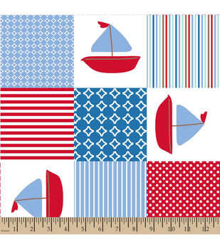 Snuggle Flannel Fabric-Sailboat Patch